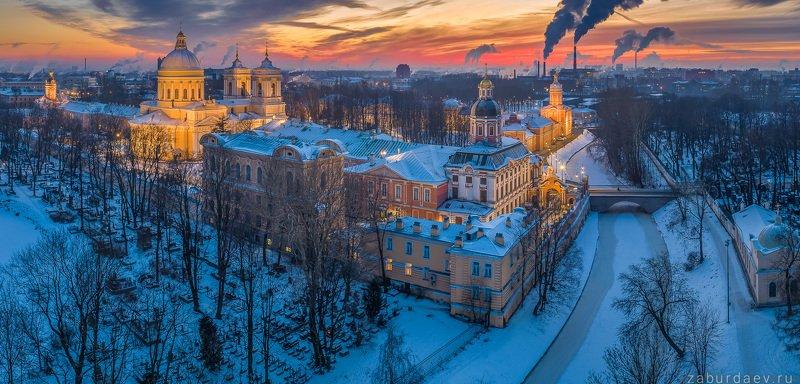 россия, петербург, вечер, закат, зима, дрон Александро-Невская лавраphoto preview