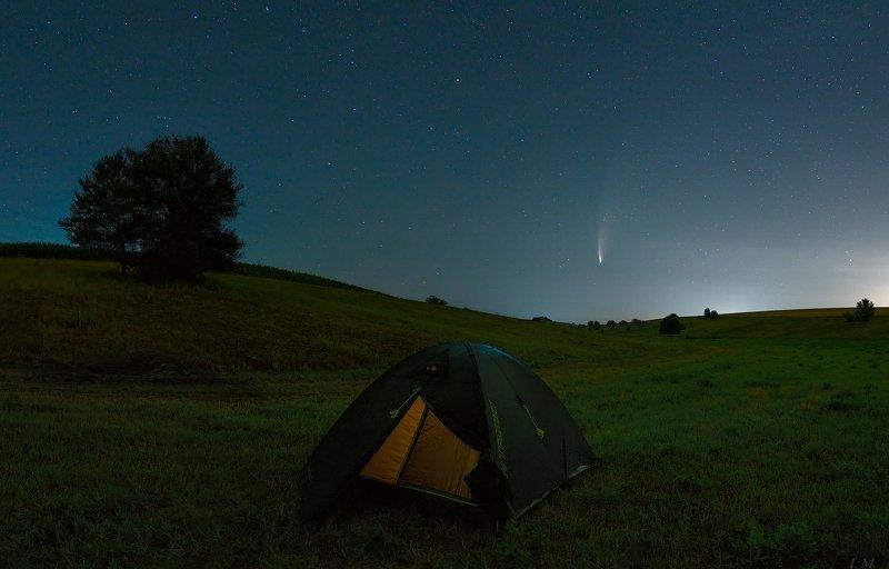 ночной пейзаж, ночь, звезды, комета, Neowise, кемпинг, палатка, comet, night photo, nightscape, landscape, stars, astrophotography, camping, night sky, panorama Camping for a NEOWISEphoto preview