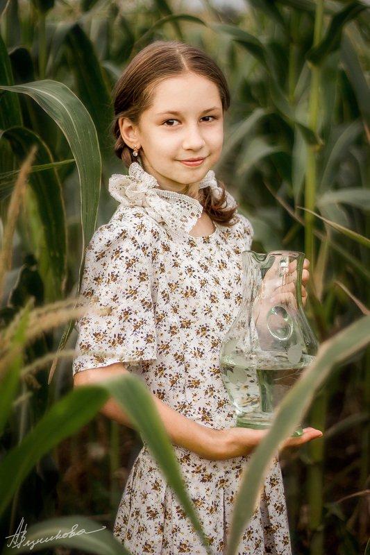 фотограф Лисичанск, Лисичанск, портрет, ребенок, девочка, фотосессия на природе, лето, В кукурузеphoto preview
