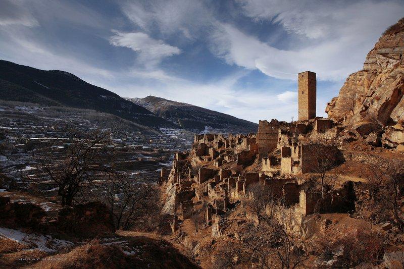 аул,кахиб,старый кахиб,горы,вершины,пейзаж,небо,деревья,дагестан,природа Старый и новый Кахиб..photo preview