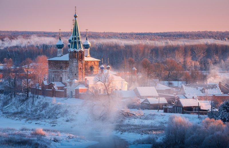 зима, рассвет, река, утро, пейзаж, дунилово Дуниловоphoto preview