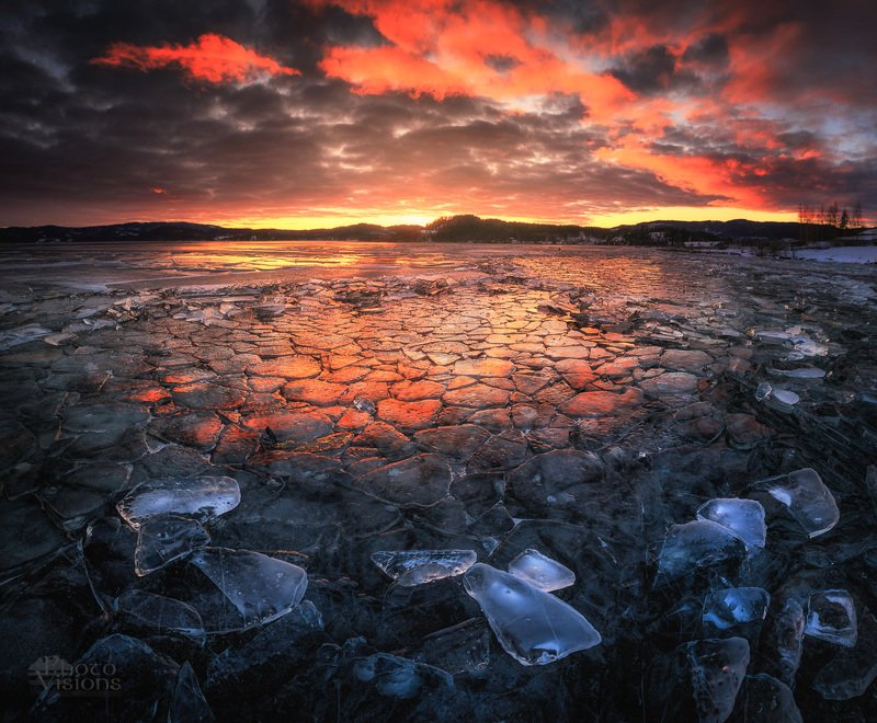 lake,drozen,winter,ice,sunset,norway,cold,evening,night,nature, Fire and Icephoto preview