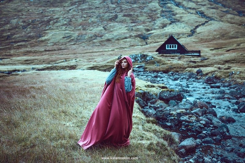 red, wind, faroe, portrait, fine art, art, model, beautiful, wild, Faroe Islands Red Windphoto preview