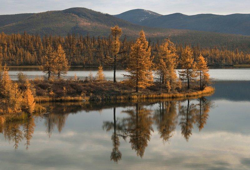 осень,озеро,отражения,сопки Осенний парусникphoto preview