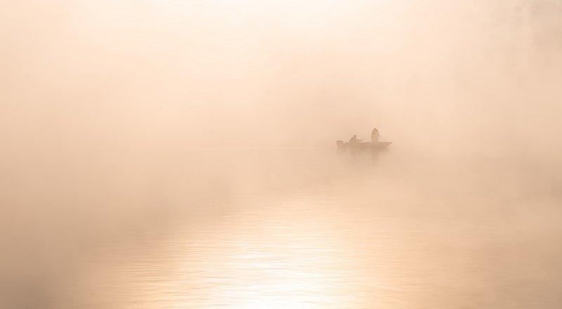 енисей, мороз, закат, берег,лодка, рыбаки. Невесомость..photo preview