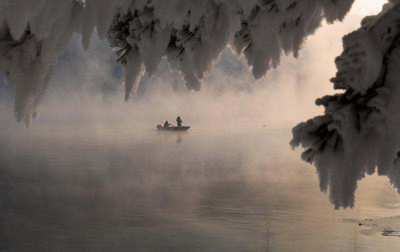 енисей, мороз, закат, берег., рыбаки. Зимняя рыбалка.photo preview