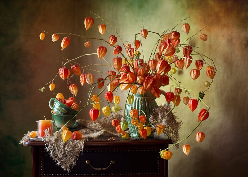 фотонатюрморт, миламиронова, осень, физалис, букет, свеча, позитив Осенний оптимистичный...photo preview