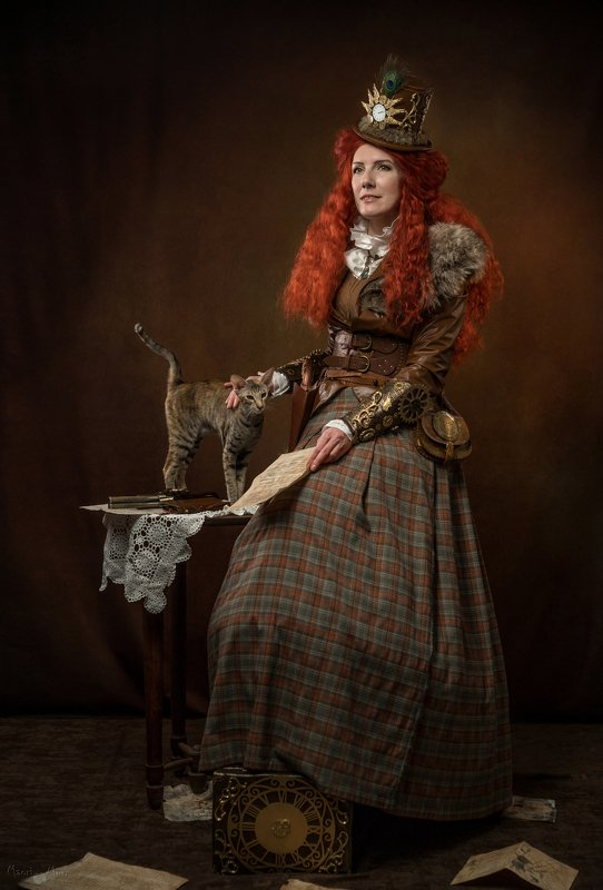 женский потрет, портрет с кошкой, стимпанк  Хорошие вести! photo preview