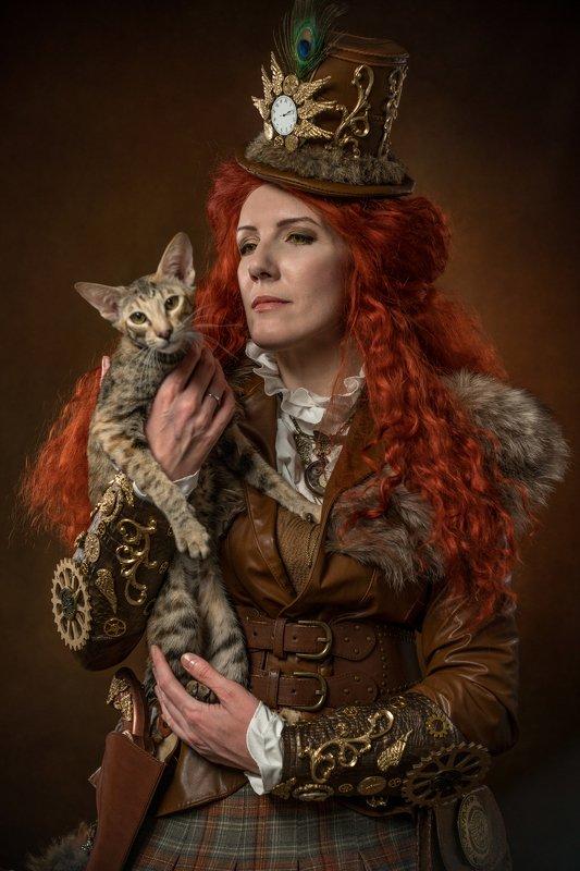женский потрет, портрет с кошкой, стимпанк  Лучшая подругаphoto preview