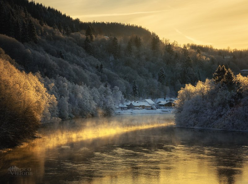 norway,winter,river,freezing,frozen,steam,forest,boreal,village Living by the riverphoto preview