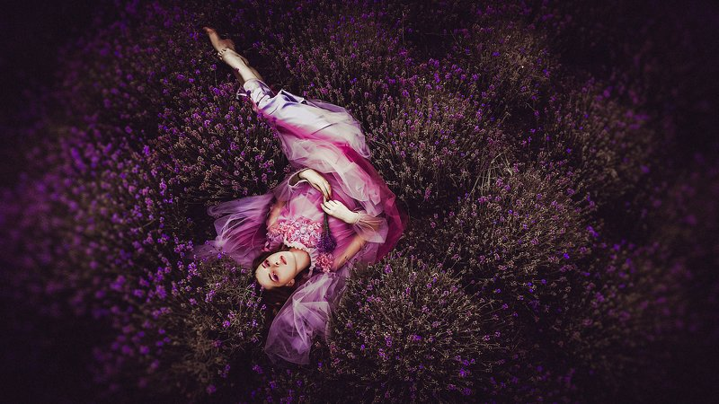 woman, portrait, outdoors, natural light, conceptual Her love bloomed in lilacs and pinkphoto preview