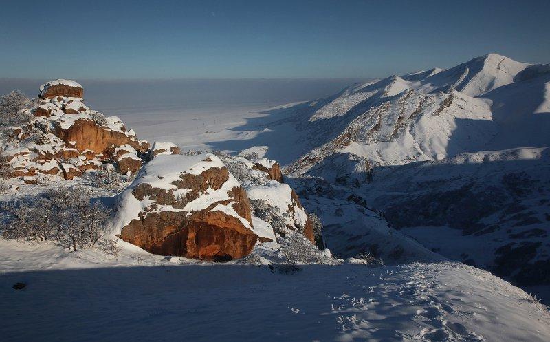зима,горы,вершины,пейзаж,небо,деревья,дагестан,природа Зимний пейзаж..photo preview