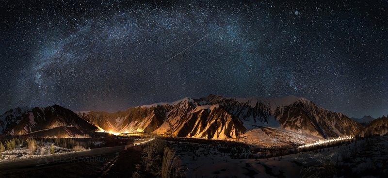 кавказ, южная осетия, кавказские горы, кавказский хребет, ночь, ночное, звёзды, млечный путь, дорога, звёздное небо, горное, южный кавказ, Звёздный мостphoto preview