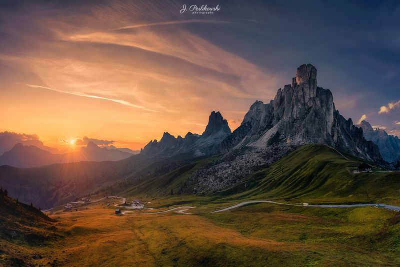 Dolomites, Alps, Europe, mountains, mountain, sunset Summer sunset in Dolomitesphoto preview