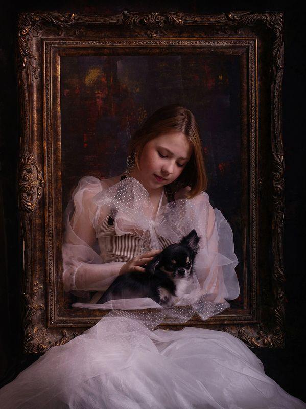 постановка цветная фотография детский портрет Рама , пес и портретphoto preview