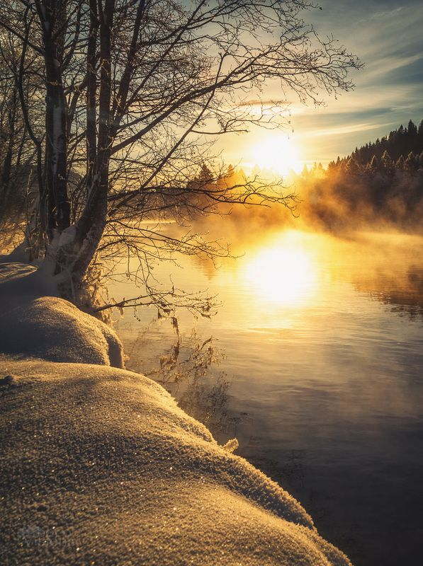 norway,winter,sunlight,frost,river,steaming, Winter scenephoto preview