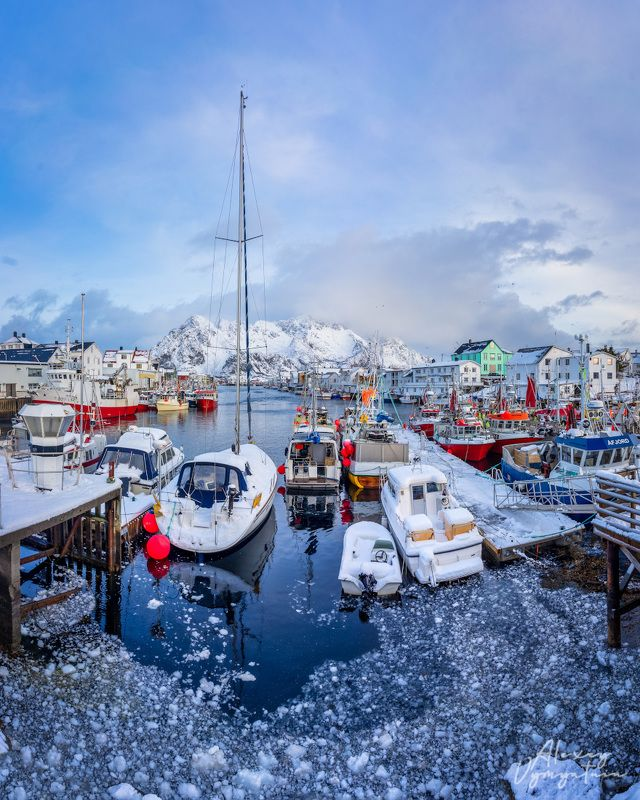 norway, lofoten, island, boats, winter, water, mountain, cold, ice Лофотенская Венецияphoto preview