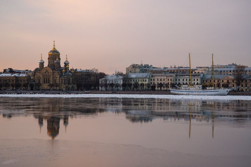 petersburg city embankment street old  winter walking river church SPB.photo preview