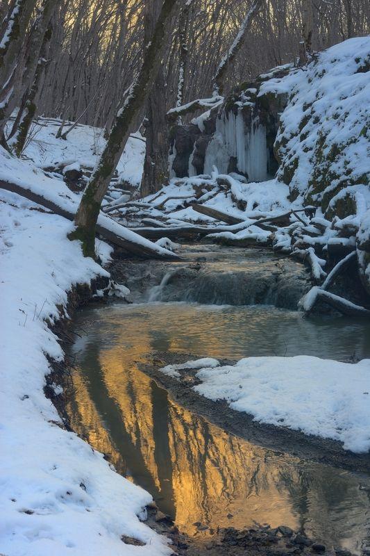 зима лес ручей рассвет Ручей в зимнем лесуphoto preview