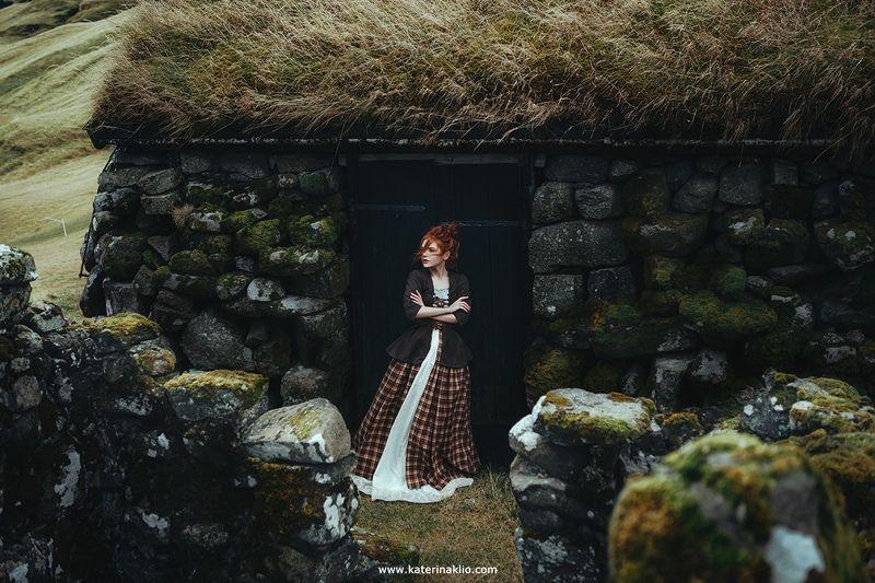 faroe, island, portrait, village, free, air, freedom, country, green, ecological, calm, model, woman, dress, Faroe Villagephoto preview