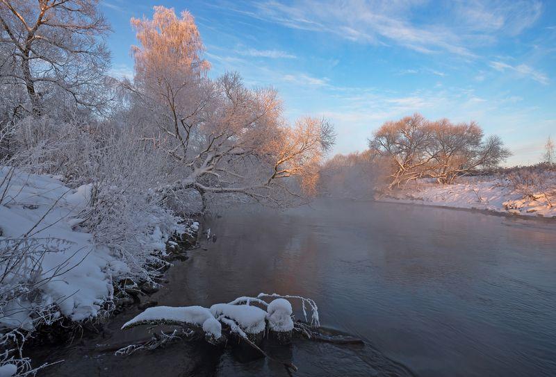 зима, утро, свислочь, туман, иней, мороз Зимняя Свислочьphoto preview
