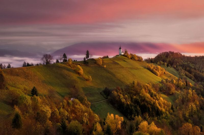 словения, slovenia, туманы словении, church, храмы словении, slovenia landscape, slovenia landscape photography Colours of dawnphoto preview