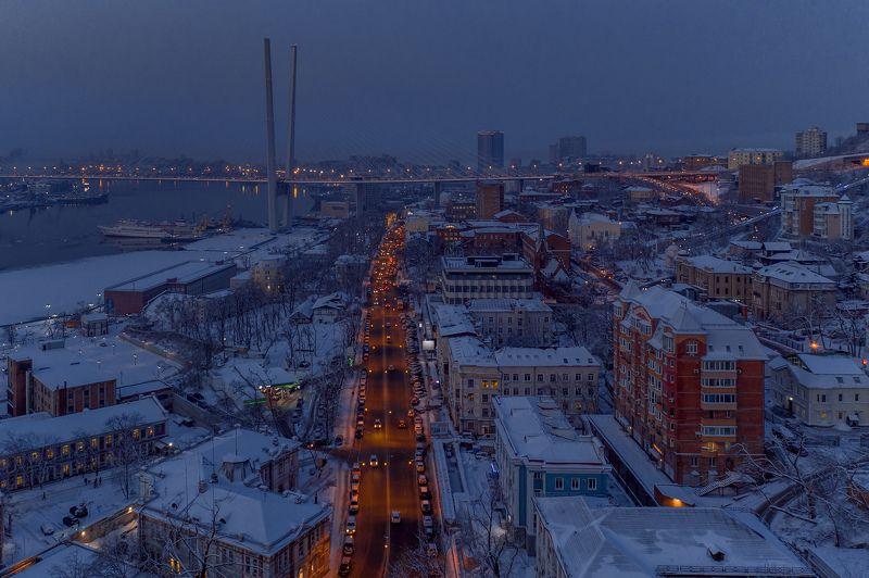 зима, море, порт, снег, город, владивосток, приморье, утро, рассвет, дороги, автомобили, архитектура Рассвет в городе \