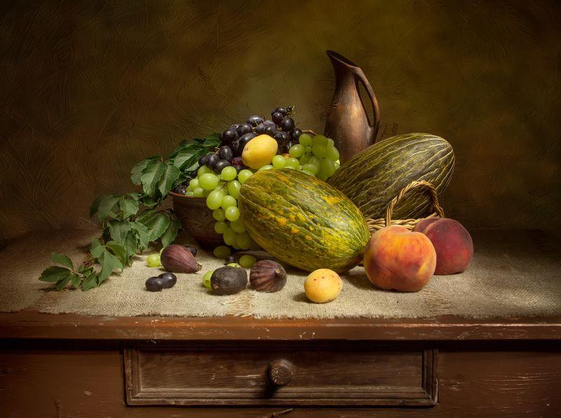 натюрморт, дыня, персик, виноград, инжир, абрикос Дары лета.... фото превью