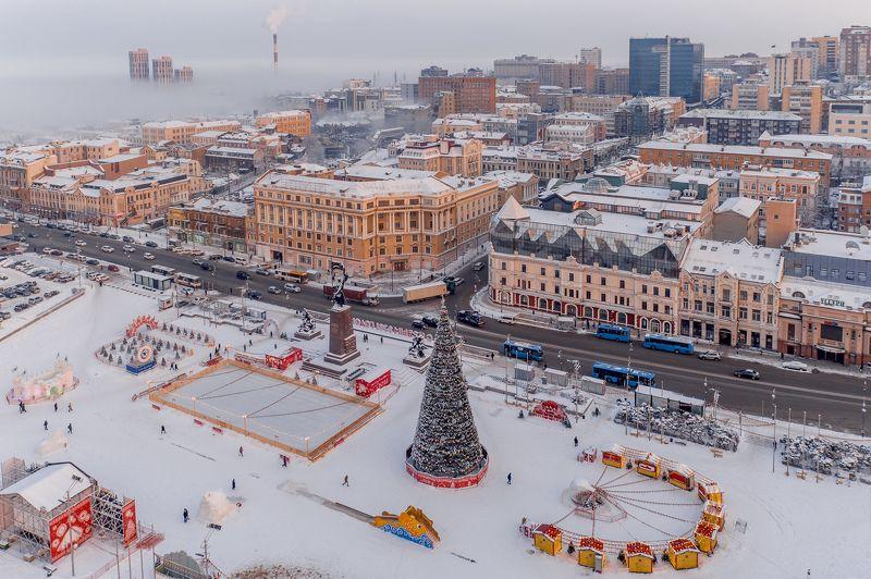 зима, снег, город, владивосток, приморье, утро, рассвет, дороги, автомобили, архитектура На рассветеphoto preview