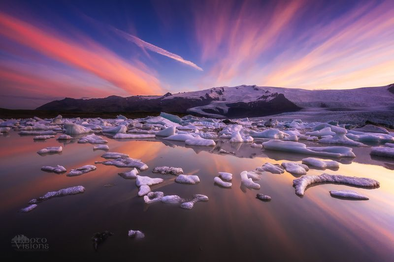 iceland,glacier,glacial,sunset,night,summer,icelandic,ice,reflections, Summer night mood on Icelandphoto preview