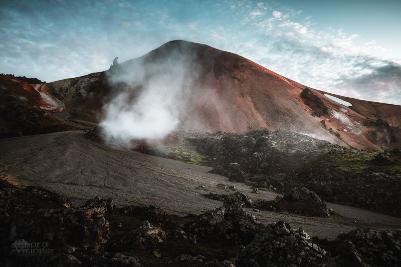iceland,landmannalaugar,mountains,volcano,volcanic,steam,evening,summer,mood, Volcanic Earthphoto preview