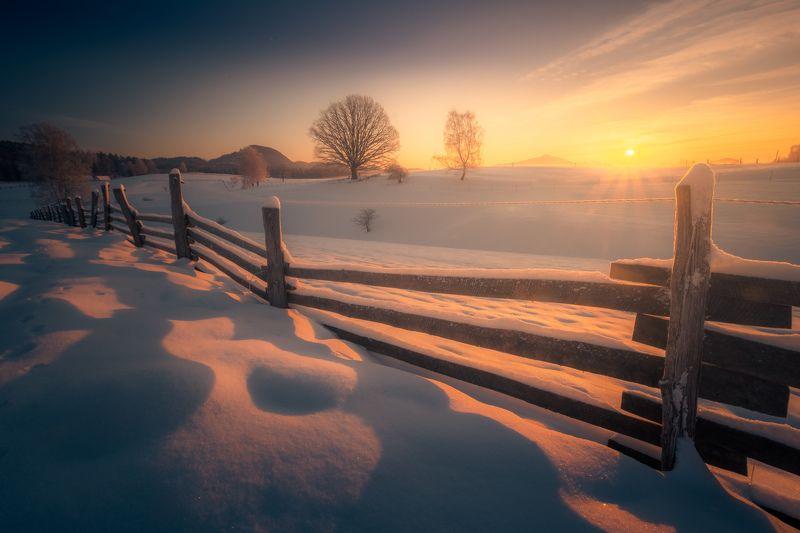 Sunrise, landscape, winter, snow, sun, light, nature, czech republic, bohemian switzerland,  Winter sunrise in meadowsphoto preview