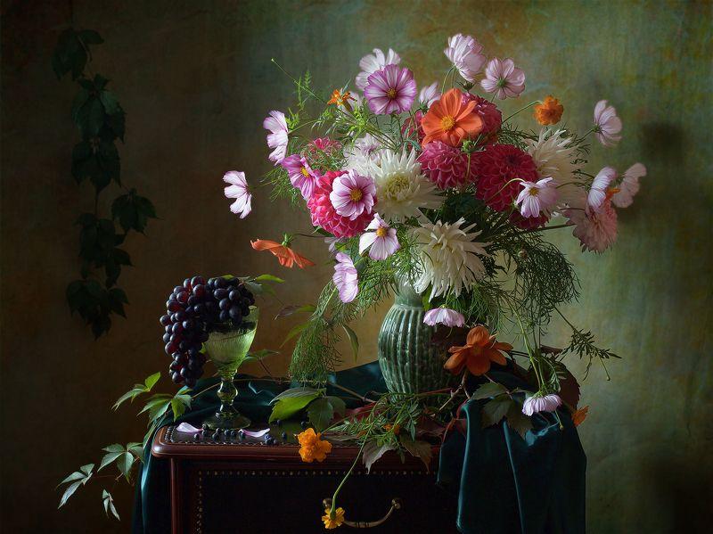 миламиронова, фотонатюрморт, букет, цветы, осень, виноград, бокал, космея, далия, сентябрь, настроение Из сентября...photo preview