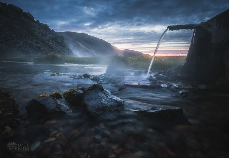 iceland,hot springs,landmannalaugar,volcanic,night,summer,summertime, Hot springs of Icelandphoto preview