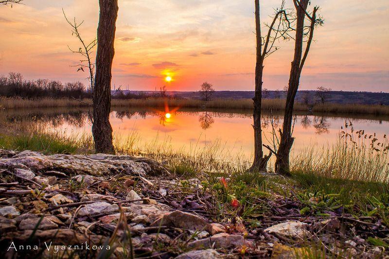 пейзаж, закат, водоем, озеро,  Засыпаетphoto preview