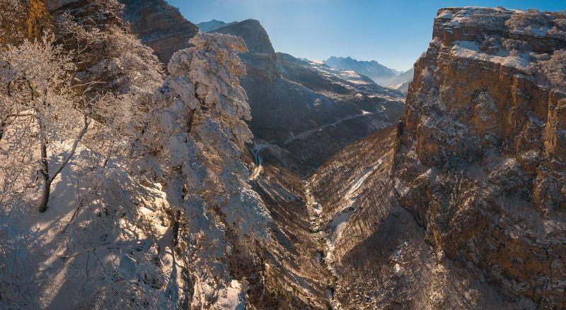 гора, кавказ, кавказские горы, черекская теснина, река черек балкарский, дорога, теснина, ущелье, иней, снег, зима, снежное, скалы, скалистое, в инеи, дерево, сосна, над обрывом, Сосна из картиныphoto preview
