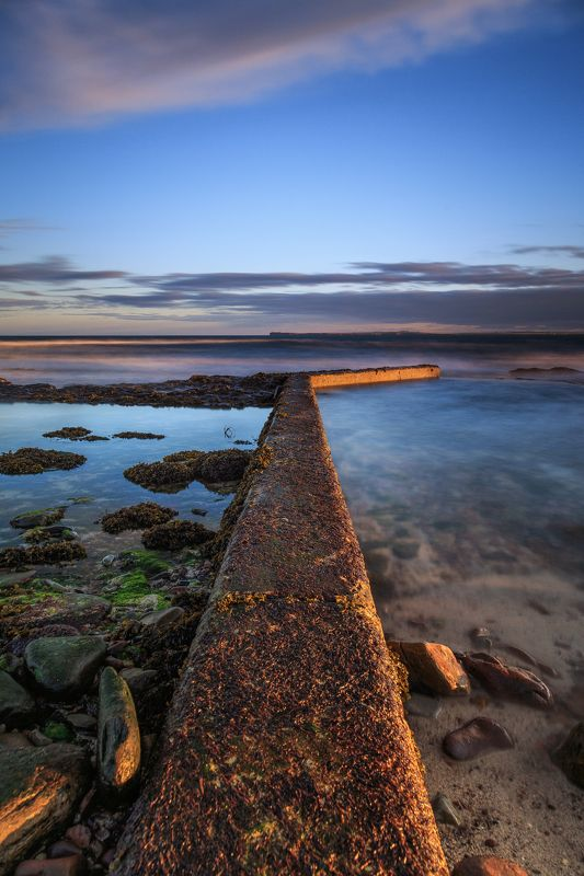 scotland,shore,coast,wave breaker,sunset,long exposure, Playng with perspectivephoto preview