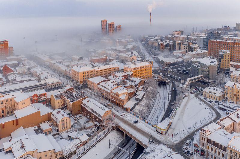зима, снег, город, владивосток, приморье, утро, рассвет, дороги, автомобили, архитектура Город просыпаетсяphoto preview