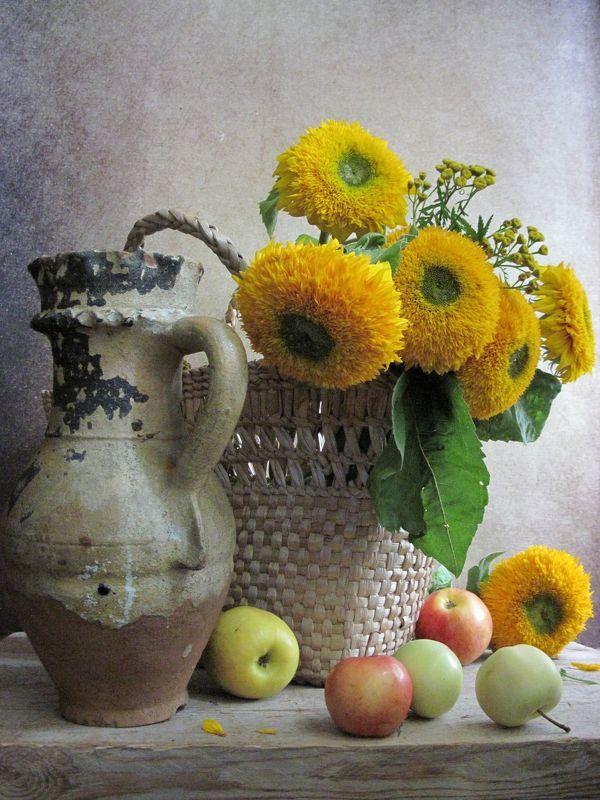 цветы, букет, подсолнухи, пижма, кувшин, плетенка Подсолнухи photo preview