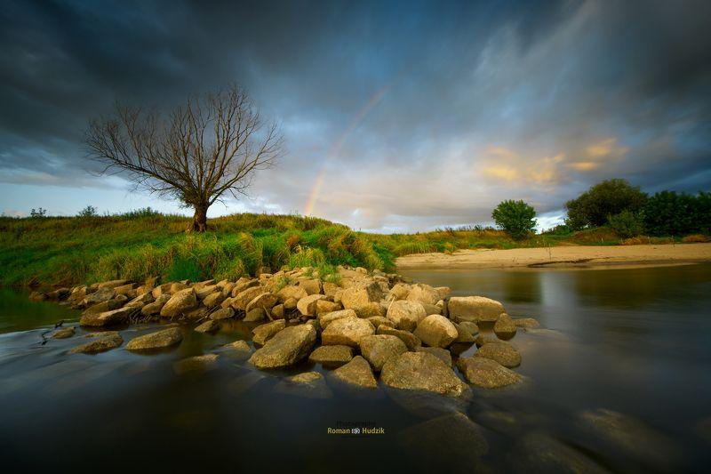 the Vistula River, clouds, landscape, stones, water, rainbow Wisła - Vistula riverphoto preview