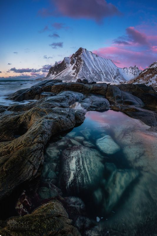 lofoten,norway,sunset,night,blue hour,winter, Tide poolphoto preview