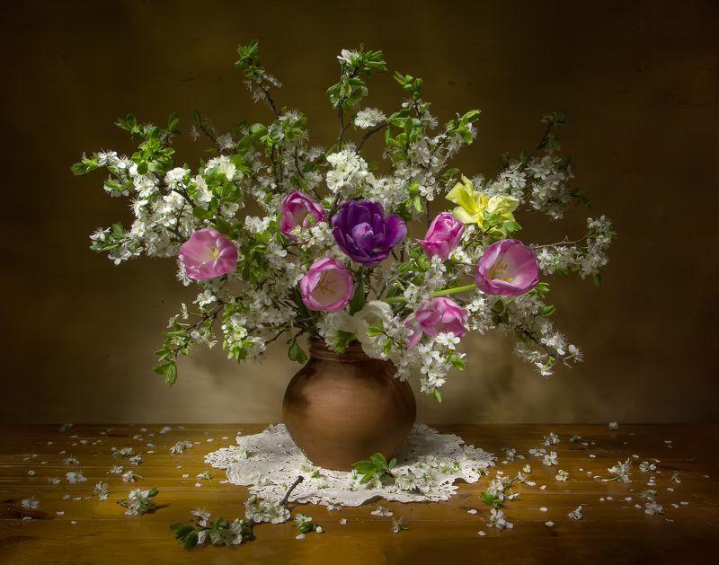 натюрморт, весна, тюльпаны, вишня А скоро весна.... фото превью