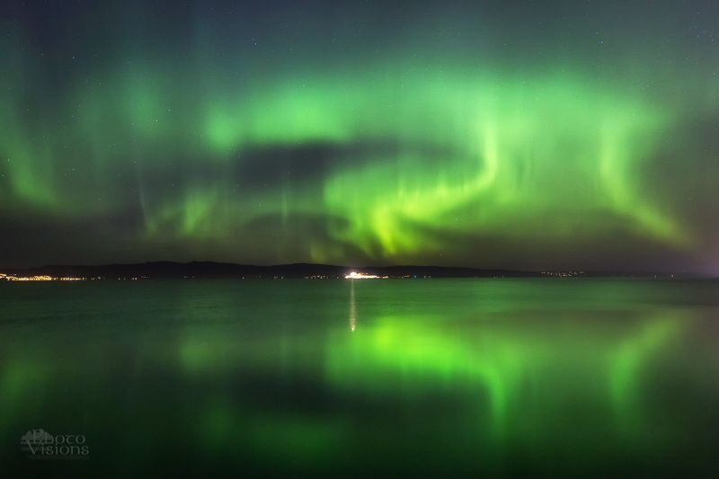 aurora,northern lights,norway,trondheim,night,sky,reflections Green nightphoto preview