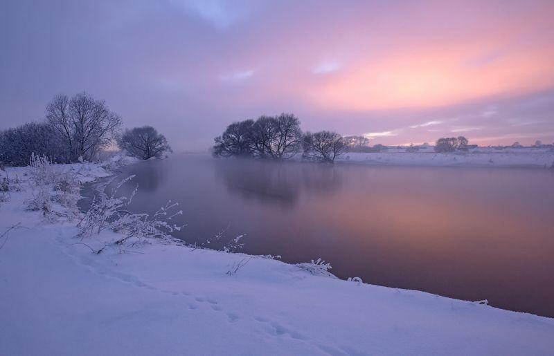 закат, зима, мороз, туман Тихонько крадётся к нам время чудес…photo preview