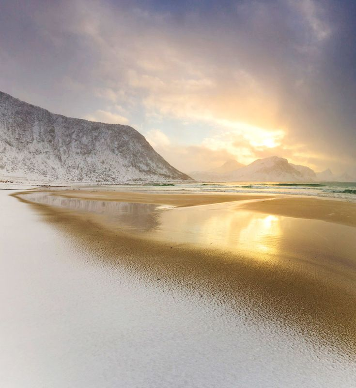 haukland beach,haukland,lofoten,sunset,winter,norway,north, White Beachphoto preview