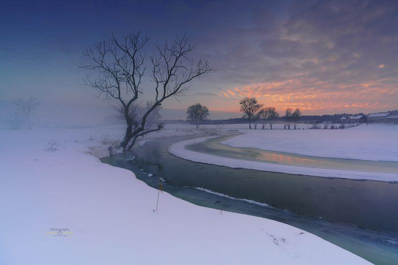 Winter, Kociewie, fog, sunset, snow, sky, landscape, Winter in Kociewie.photo preview