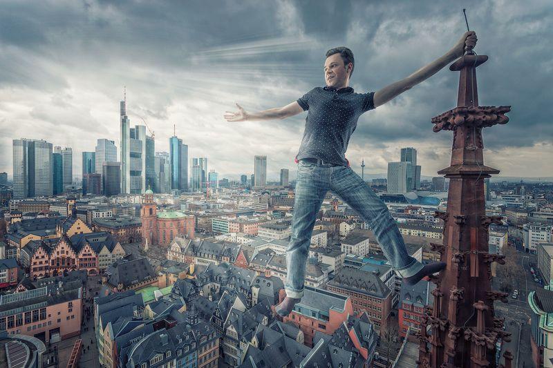 франкфурт, город, башня, мужчина Башняphoto preview