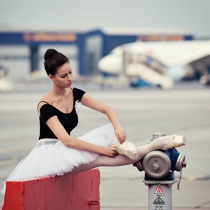 Ballerina at the airportphoto preview