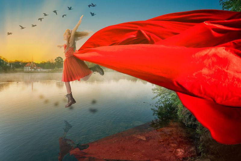 девочка, платье, озеро, прыжок Прыжокphoto preview