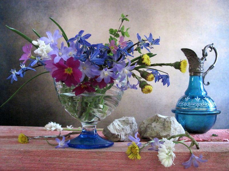 цветы, букет, первоцветы, мать-и-мачеха, примула, пролески, хионодокса, кувшин, креманка, камни Первые цветыphoto preview
